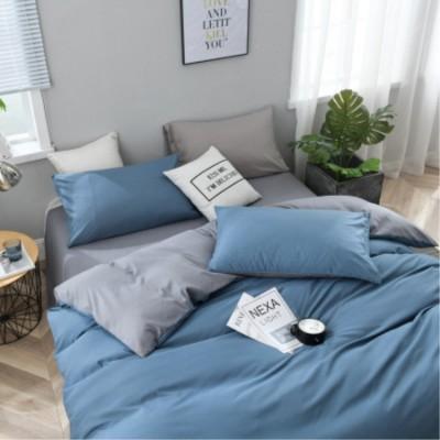 床上用品 北歐新品ins超柔磨毛床上用品床笠四件套 素色雙拼家紡純色三件套