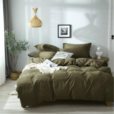 床上用品 北歐ins超柔床上用品軍綠四件套 素色家紡被套純色三件套廠家直銷