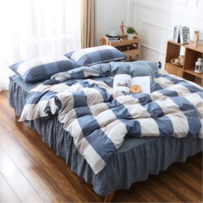 床上用品 新品純棉水洗棉四件套 床裙格子全棉良品床罩被套 床上用品批發