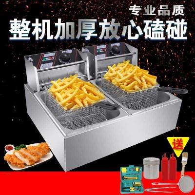 加大加厚无烟自动控温小吃鸡排单双缸不锈钢电炸炉大容量油条机